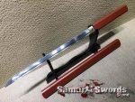 Ninjato Sword 1060 Carbon Steel With Hardwood In Burgundy Color Saya