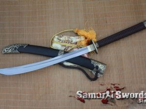 Chinese Broadsword 1095 Folded Steel With Blackwood Saya