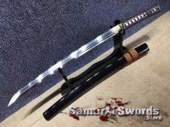 Samurai Wakizashi Sword T10 Clay Tempered Steel With Black Saya
