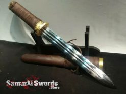 Tanto Knife T10 Clay Tempered Steel With Rosewood With Buffalo Horn Saya