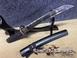 Tanto Knife 1060 Carbon Steel With Matt Black Saya