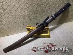 T10 Clay Tempered Steel Wakizashi Sword  With Rosewood Saya