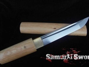 Tanto Knife 1060 Carbon Steel With Bamboo Wood Saya