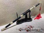 Chinese Jian Sword T10 Folded Clay Tempered Steel With Ebony Wood Saya