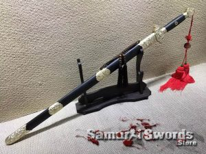 Chinese Jian Sword T10 Folded Clay Tempered Steel With Ebony Wood Saya
