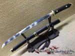 Wakizashi Sword T10 Clay Tempered Steel with Ebony Wood Saya