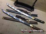 Wakizashi Sword T10 Clay Tempered Steel with Rosewood Or Ebony Wood Saya