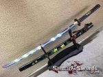 Battle Ready Katana Sword T10 Folded Clay Tempered Steel with Hadori Polish and Hand Painted Flowers Saya (2)
