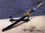 Battle Ready Wakizashi T10 Clay Tempered Steel with Black Saya