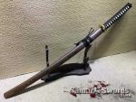Japanese Katana T10 Clay Tempered Steel with Rosewood Saya