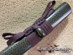 Synthetic Green Leopard Leather Wood Saya