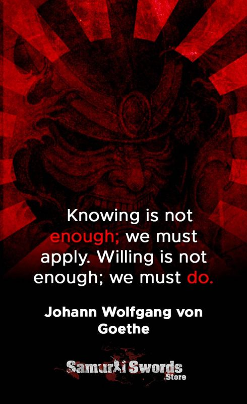 Knowing is not enough; we must apply. Willing is not enough; we must do. - Jonathan Wolfgang Von Goethe